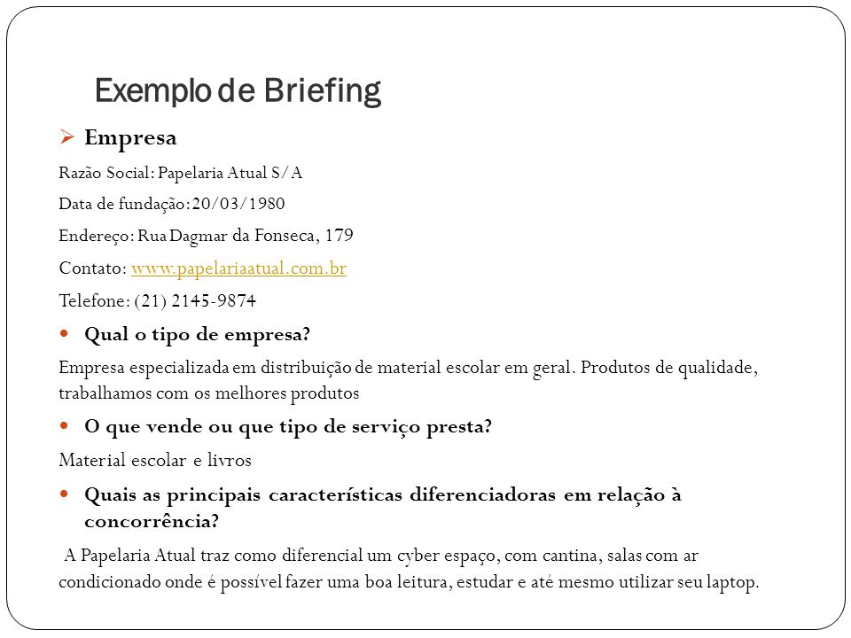 Exemplo de Briefing Empresa Qual o tipo de empresa