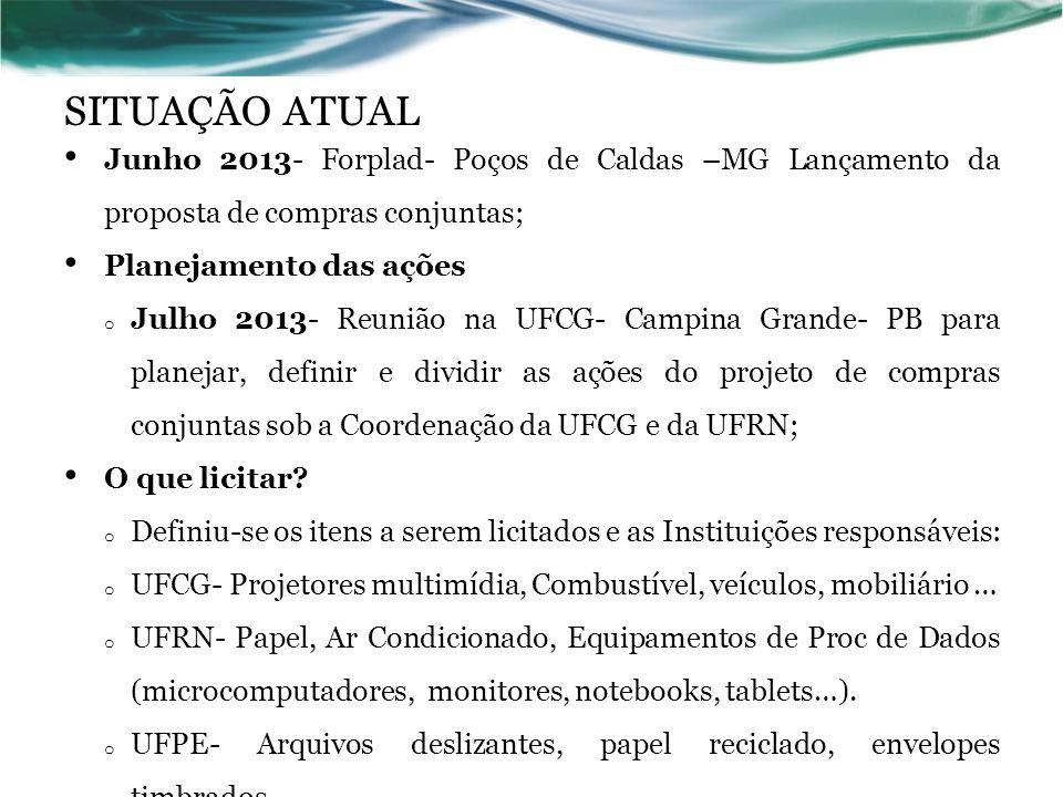 SITUAÇÃO ATUAL Junho 2013- Forplad- Poços de Caldas –MG Lançamento da proposta de compras conjuntas;