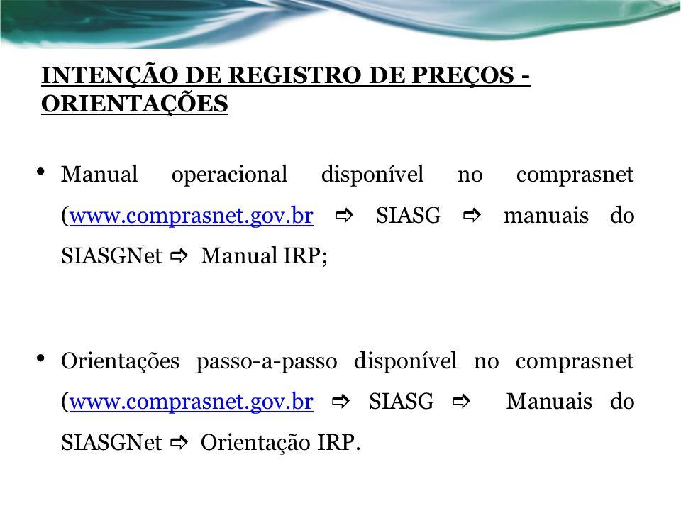 INTENÇÃO DE REGISTRO DE PREÇOS - ORIENTAÇÕES