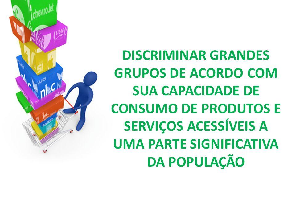 DISCRIMINAR GRANDES GRUPOS DE ACORDO COM SUA CAPACIDADE DE CONSUMO DE PRODUTOS E SERVIÇOS ACESSÍVEIS A UMA PARTE SIGNIFICATIVA DA POPULAÇÃO