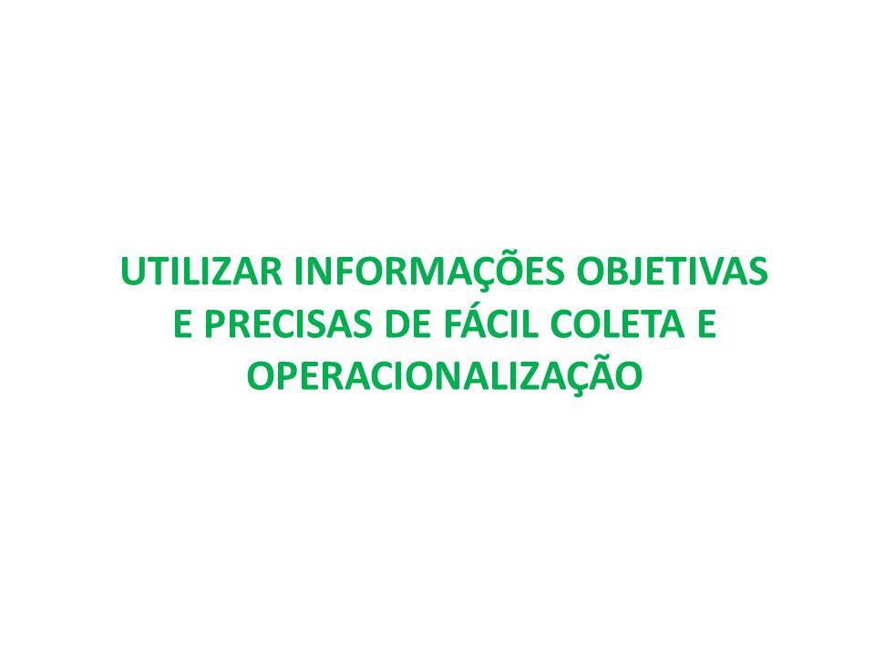UTILIZAR INFORMAÇÕES OBJETIVAS E PRECISAS DE FÁCIL COLETA E OPERACIONALIZAÇÃO