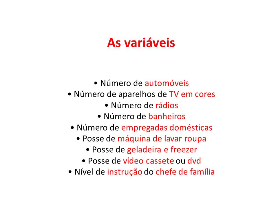 As variáveis • Número de automóveis