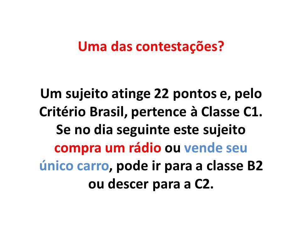Uma das contestações Um sujeito atinge 22 pontos e, pelo Critério Brasil, pertence à Classe C1.