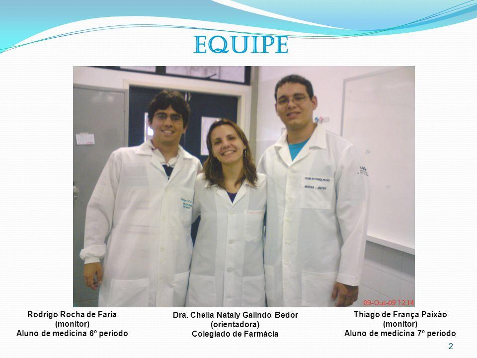 EQUIPE Rodrigo Rocha de Faria (monitor) Aluno de medicina 6º período