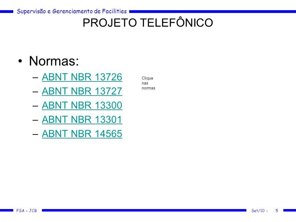 Normas: PROJETO TELEFÔNICO ABNT NBR 13726 ABNT NBR 13727