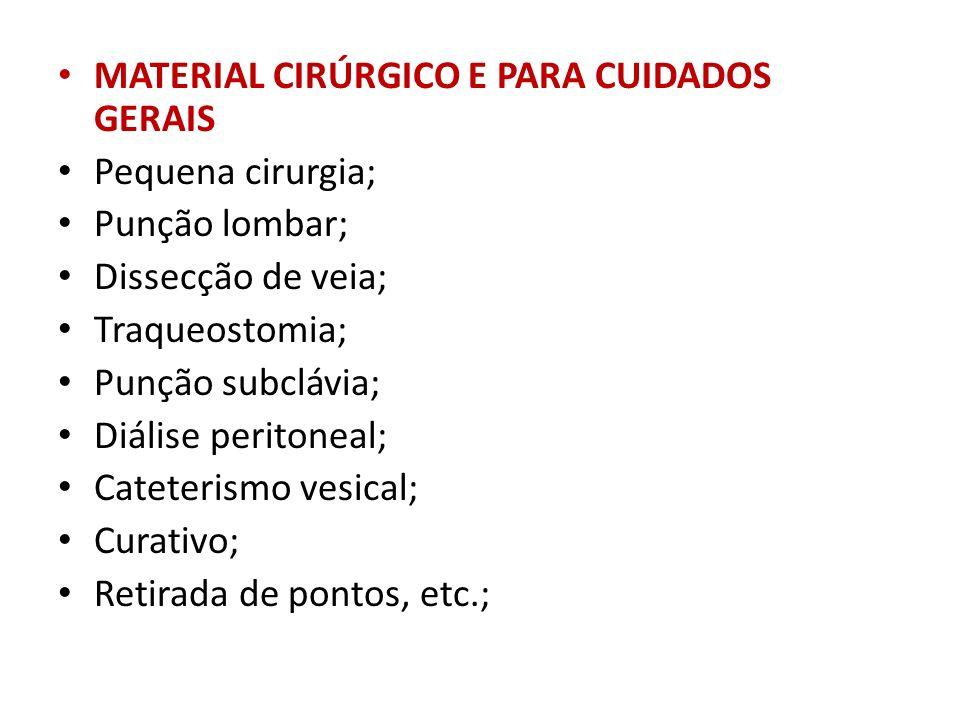 MATERIAL CIRÚRGICO E PARA CUIDADOS GERAIS