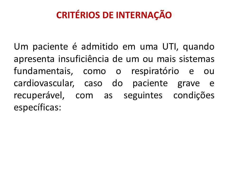 CRITÉRIOS DE INTERNAÇÃO