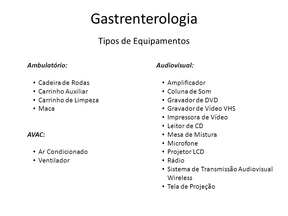 Gastrenterologia Tipos de Equipamentos Ambulatório: Audiovisual: