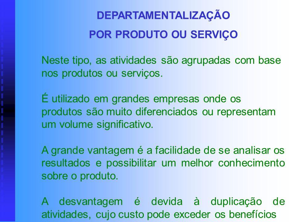 DEPARTAMENTALIZAÇÃO POR PRODUTO OU SERVIÇO. Neste tipo, as atividades são agrupadas com base nos produtos ou serviços.
