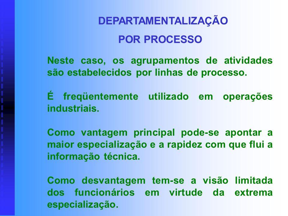 DEPARTAMENTALIZAÇÃO POR PROCESSO. Neste caso, os agrupamentos de atividades são estabelecidos por linhas de processo.