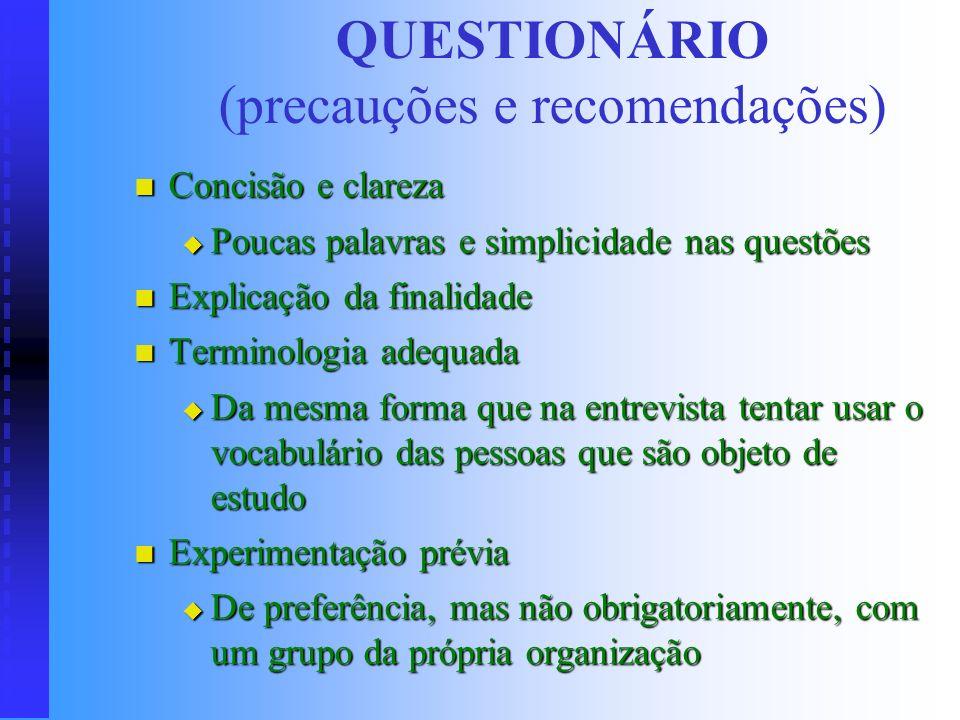 QUESTIONÁRIO (precauções e recomendações)