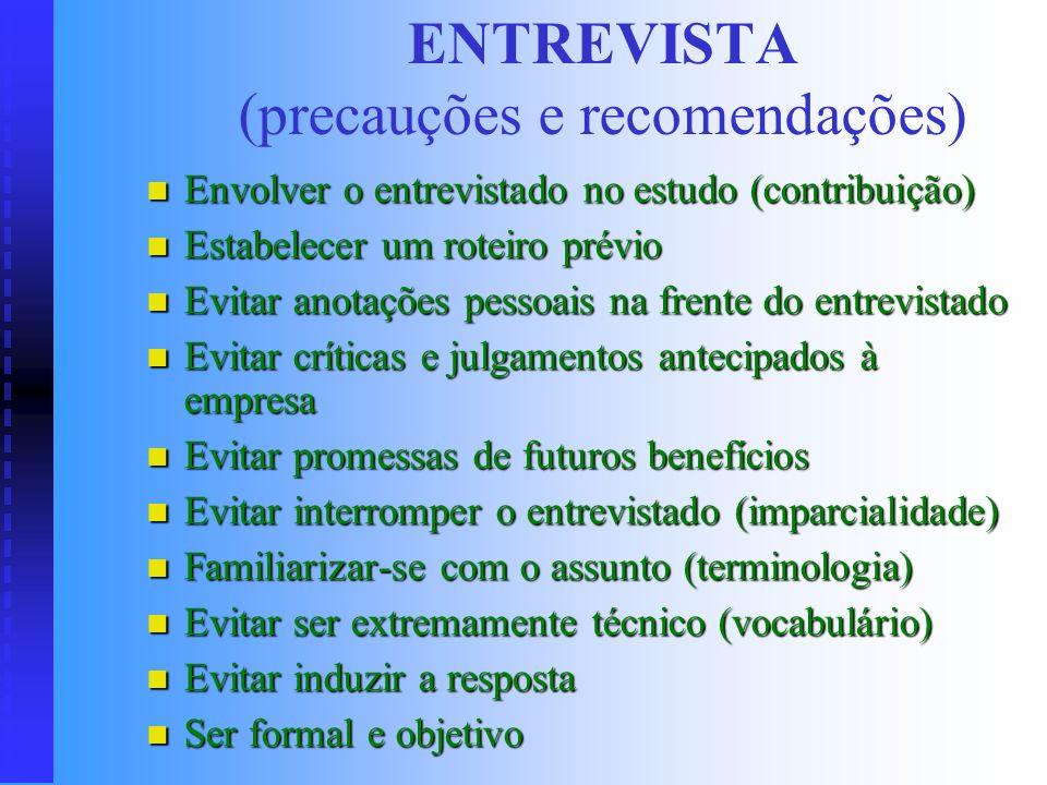 ENTREVISTA (precauções e recomendações)