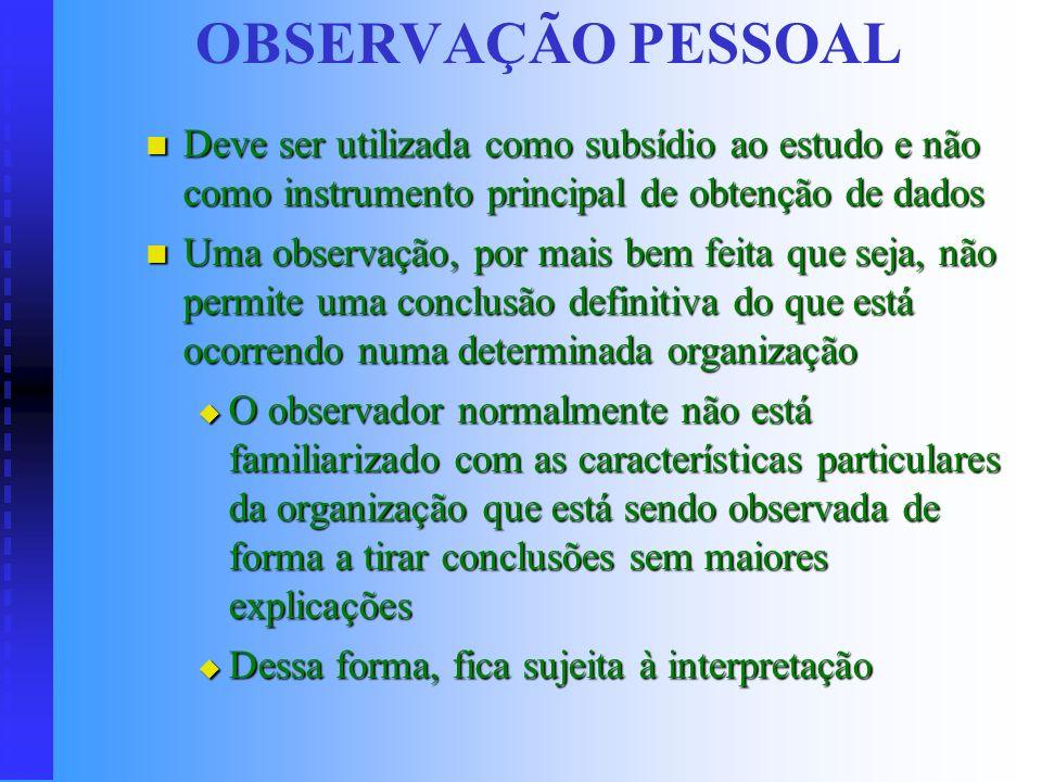 OBSERVAÇÃO PESSOAL Deve ser utilizada como subsídio ao estudo e não como instrumento principal de obtenção de dados.