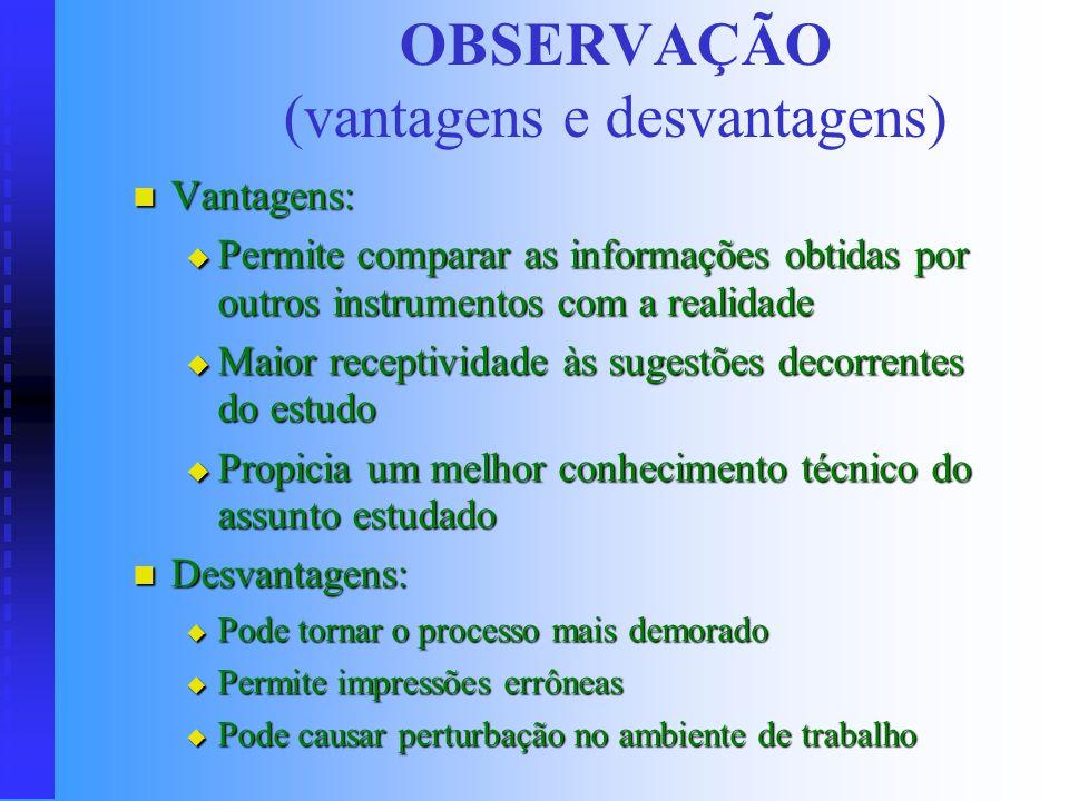 OBSERVAÇÃO (vantagens e desvantagens)