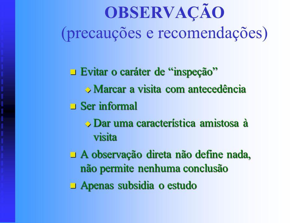 OBSERVAÇÃO (precauções e recomendações)