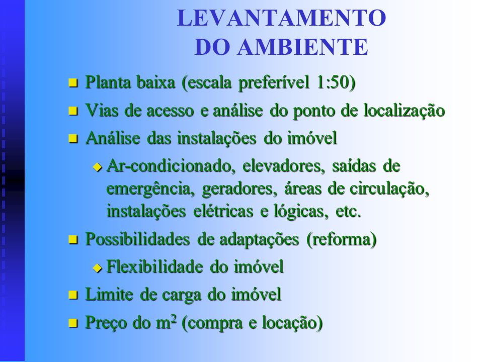 LEVANTAMENTO DO AMBIENTE