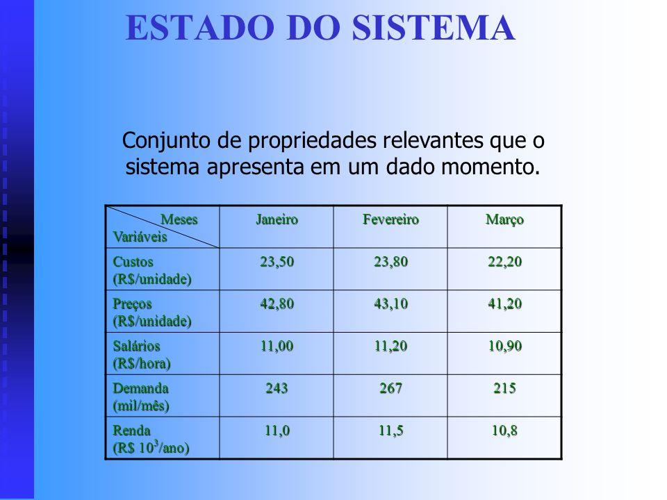 ESTADO DO SISTEMA Conjunto de propriedades relevantes que o sistema apresenta em um dado momento. Meses Variáveis.