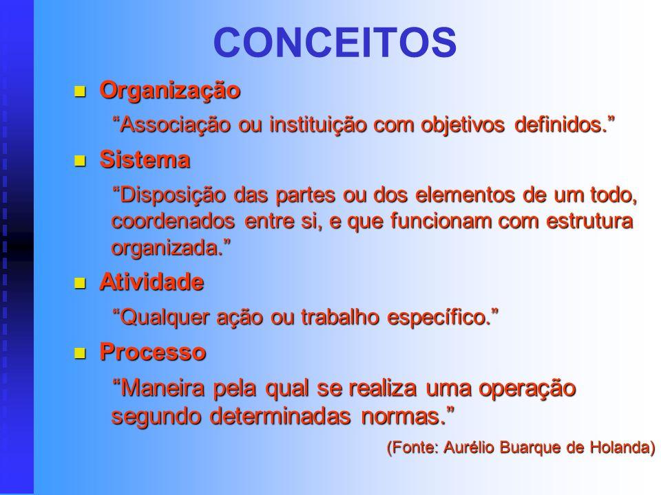 CONCEITOS Organização Sistema Atividade Processo