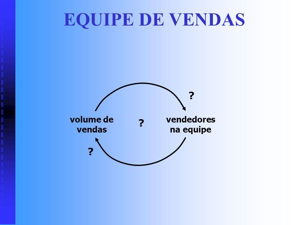EQUIPE DE VENDAS volume de vendas vendedores na equipe
