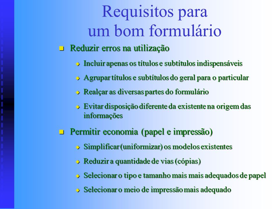 Requisitos para um bom formulário