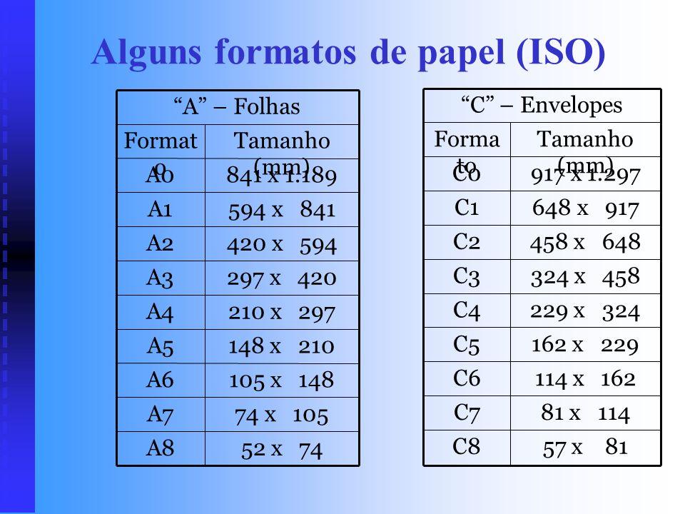 Alguns formatos de papel (ISO)