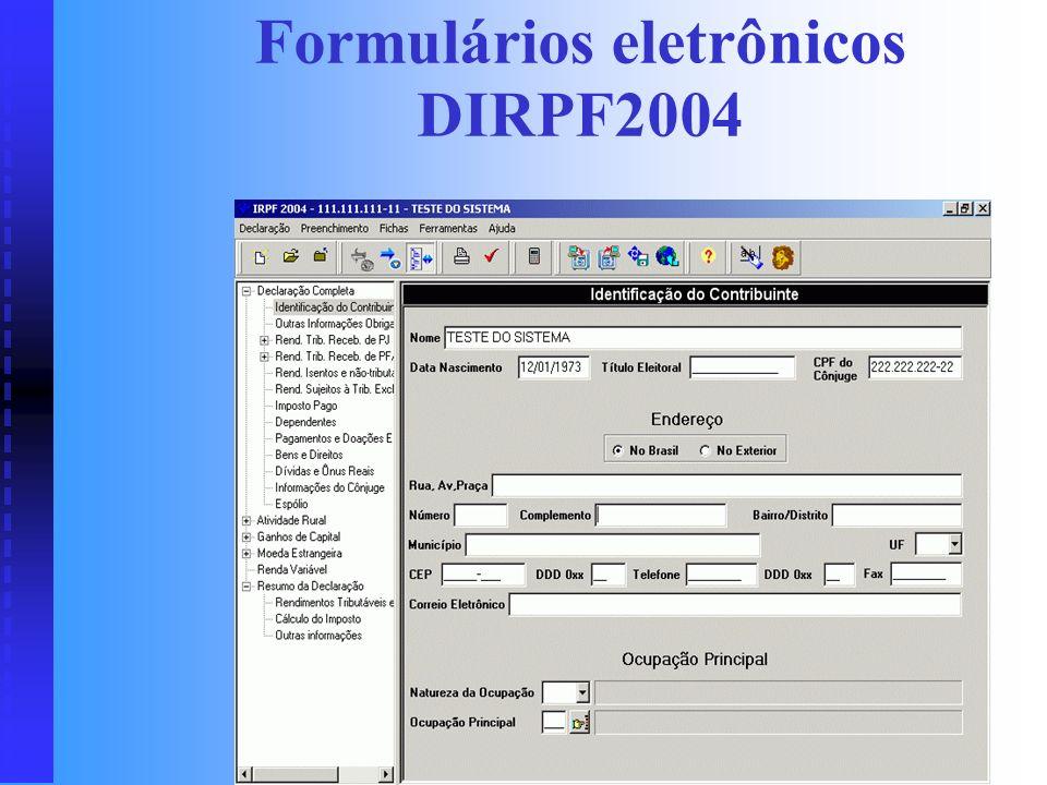 Formulários eletrônicos DIRPF2004