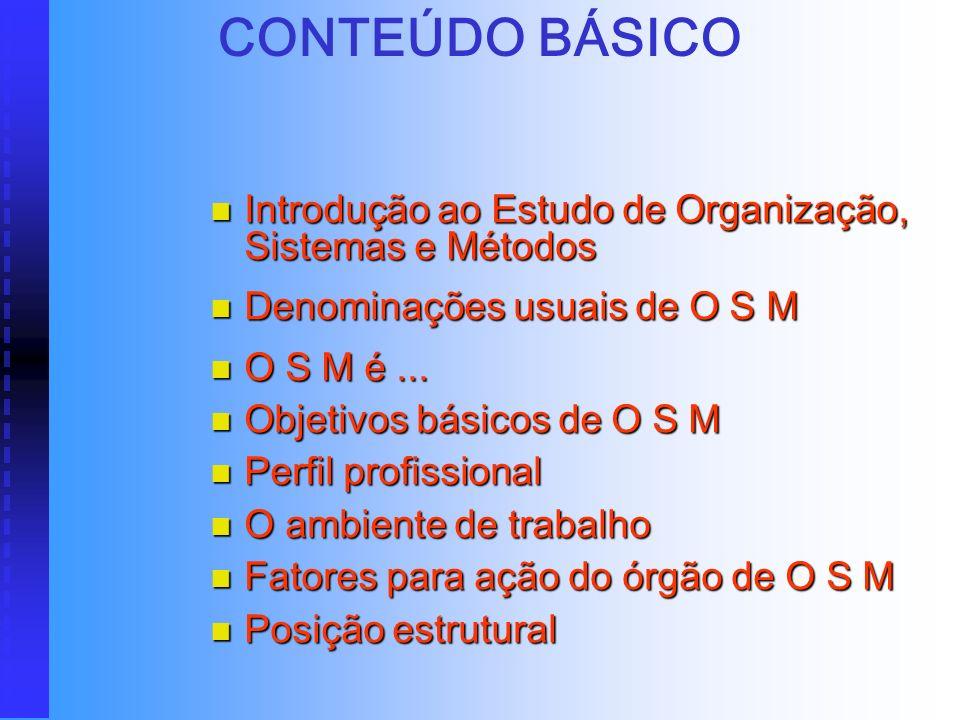 CONTEÚDO BÁSICO Introdução ao Estudo de Organização, Sistemas e Métodos. Denominações usuais de O S M.