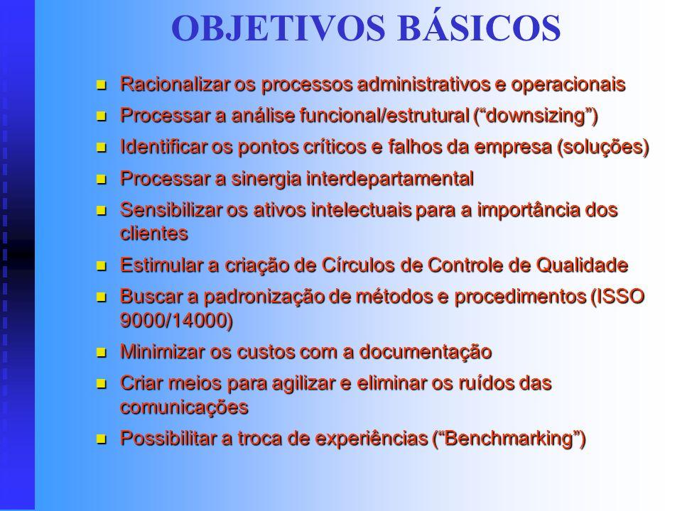 OBJETIVOS BÁSICOS Racionalizar os processos administrativos e operacionais. Processar a análise funcional/estrutural ( downsizing )
