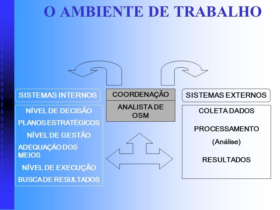 O AMBIENTE DE TRABALHO SISTEMAS INTERNOS SISTEMAS EXTERNOS COORDENAÇÃO