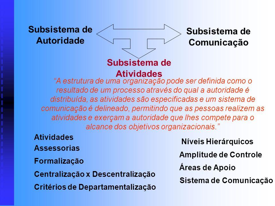 A estrutura de uma organização pode ser definida como o