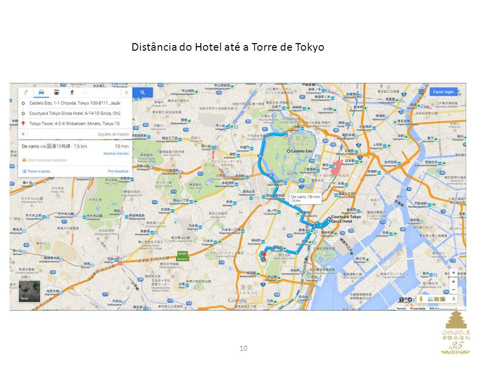 Distância do Hotel até a Torre de Tokyo