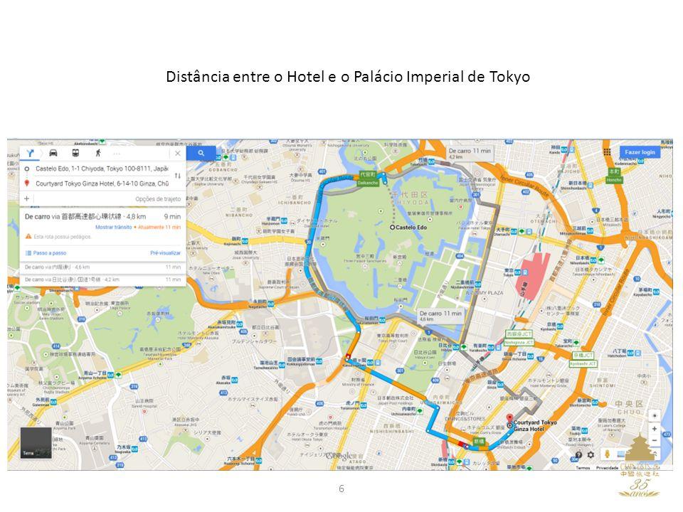 Distância entre o Hotel e o Palácio Imperial de Tokyo