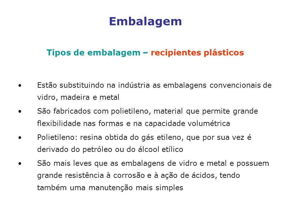 Tipos de embalagem – recipientes plásticos