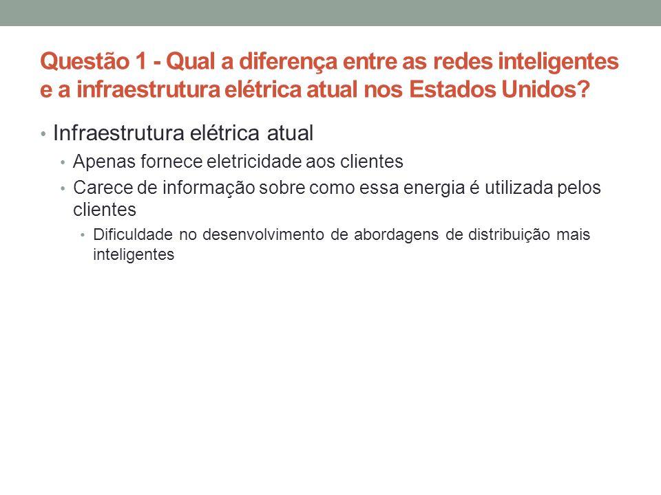Questão 1 - Qual a diferença entre as redes inteligentes e a infraestrutura elétrica atual nos Estados Unidos