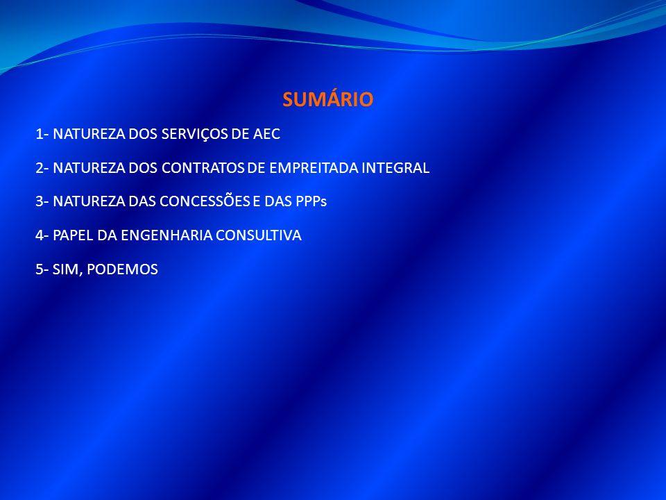 SUMÁRIO 1- NATUREZA DOS SERVIÇOS DE AEC