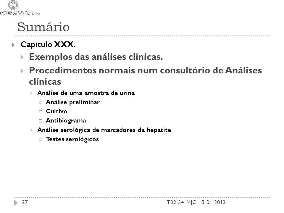Sumário Exemplos das análises clinicas.