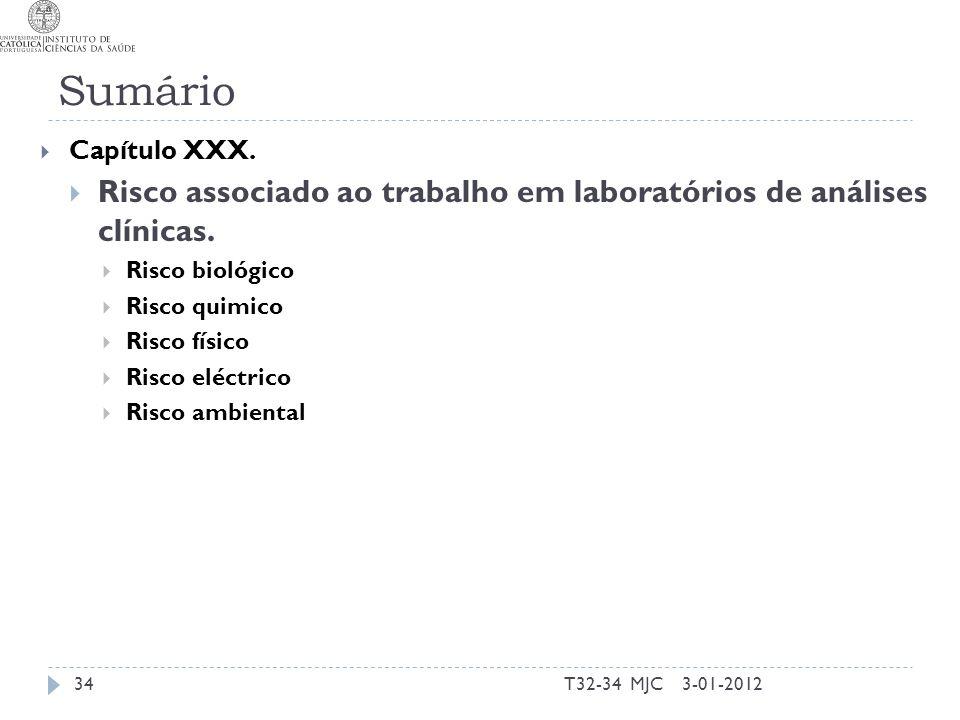 Sumário Capítulo XXX. Risco associado ao trabalho em laboratórios de análises clínicas. Risco biológico.