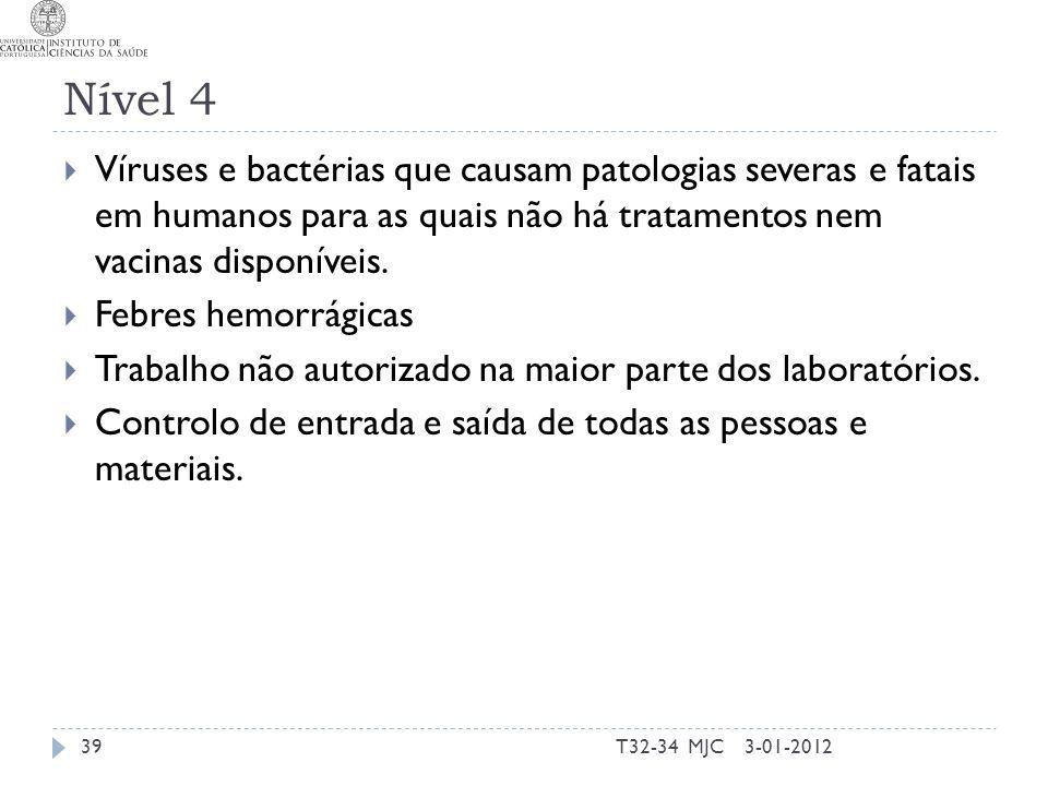 Nível 4 Víruses e bactérias que causam patologias severas e fatais em humanos para as quais não há tratamentos nem vacinas disponíveis.