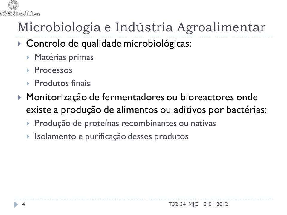 Microbiologia e Indústria Agroalimentar