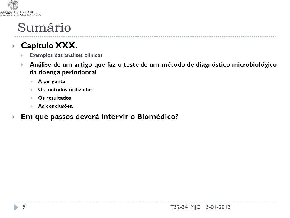 Sumário Capítulo XXX. Em que passos deverá intervir o Biomédico