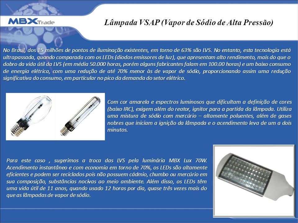 Lâmpada VSAP (Vapor de Sódio de Alta Pressão)