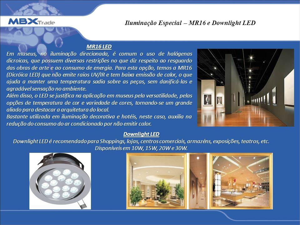 Iluminação Especial – MR16 e Downlight LED