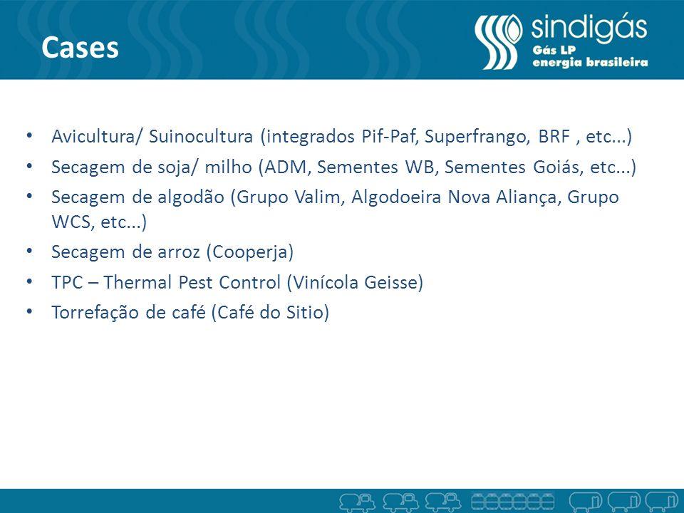 Cases Avicultura/ Suinocultura (integrados Pif-Paf, Superfrango, BRF , etc...) Secagem de soja/ milho (ADM, Sementes WB, Sementes Goiás, etc...)