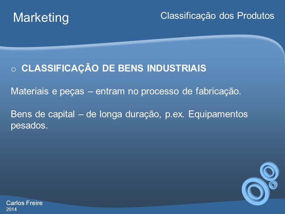 Marketing Classificação dos Produtos CLASSIFICAÇÃO DE BENS INDUSTRIAIS