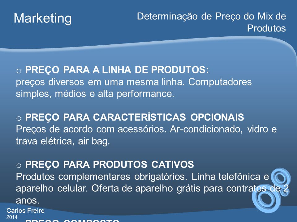 Marketing Determinação de Preço do Mix de Produtos