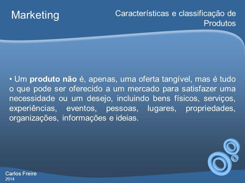 Marketing Características e classificação de Produtos