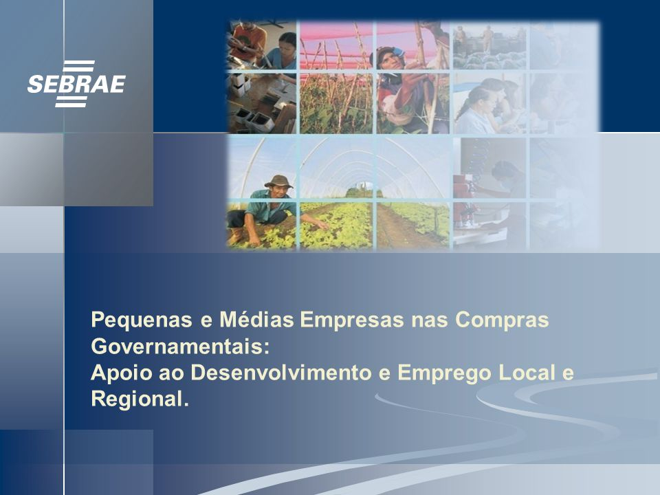 Pequenas e Médias Empresas nas Compras Governamentais: Apoio ao Desenvolvimento e Emprego Local e Regional.