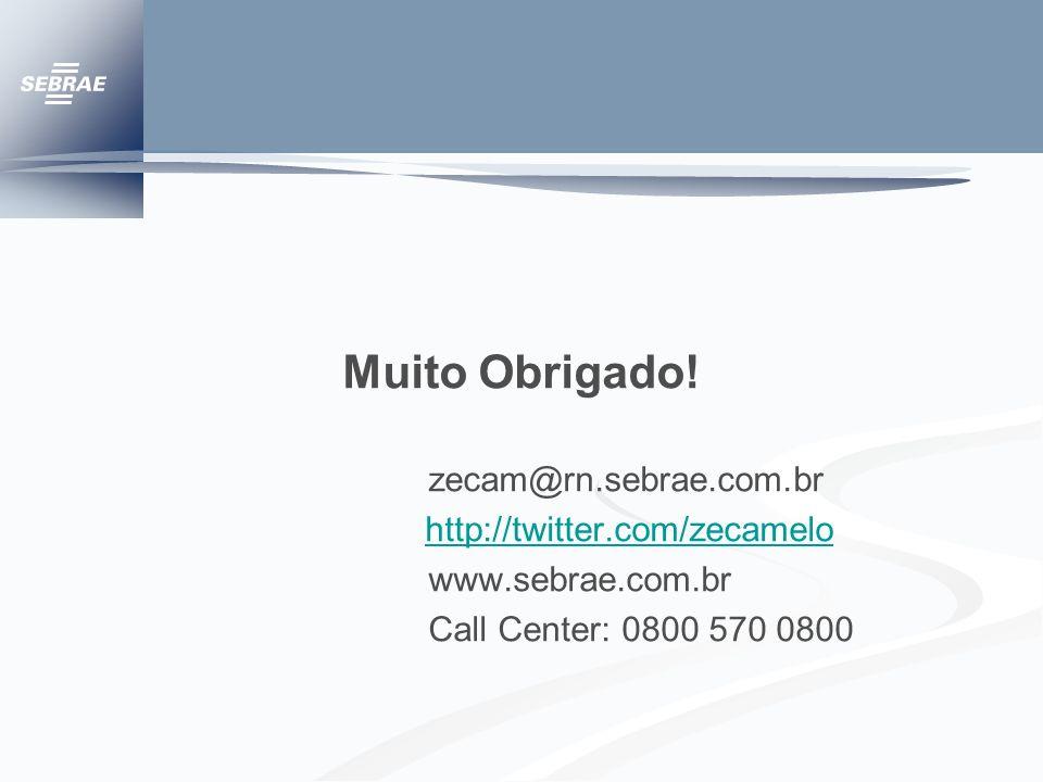 Muito Obrigado! zecam@rn.sebrae.com.br http://twitter.com/zecamelo