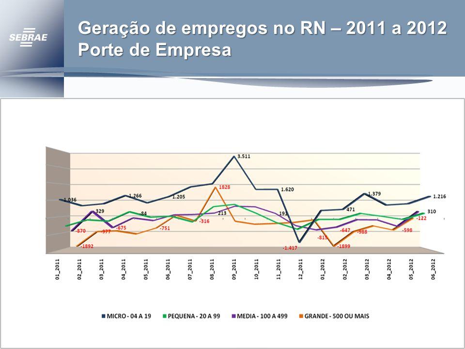 Geração de empregos no RN – 2011 a 2012 Porte de Empresa