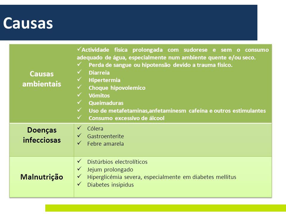 Causas Causas ambientais Doenças infecciosas Malnutrição